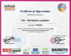 Sertifikat Matahari lAundry Kopdar Jakarta